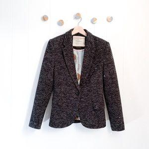 Anthro Cartonnier Tweed Dashes Blazer Jacket | S